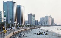 A photo showing the old #Corniche before the construction of First Street, the current highway that now runs along the waterfront in Abu Dhabi.