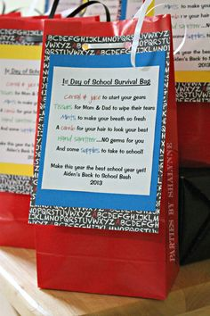 Cutest Back To School Party favor bags w/ poem