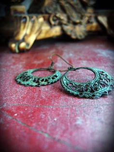 This Old Gate - Antiqued Patina Earrings - $20