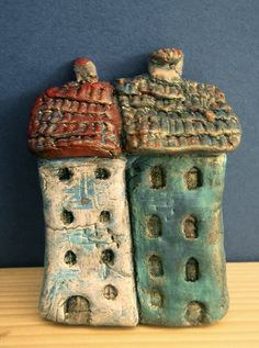 Collectible OOAK handmade miniature air dry clay houses – Townhouse 06 with Turquoise-gold patina by TurquoiseBlueBazaar
