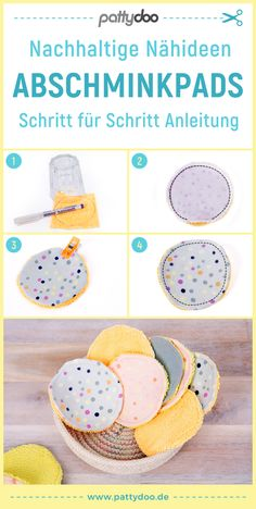 Sustainable sewing ideas - sew make-up removal pads yourself - Sewing instructions and free templates for reusable make-up pads. For recycling leftovers and more - Knitting Websites, Knitting Blogs, Baby Knitting, Sewing Projects For Beginners, Knitting For Beginners, Sewing Hacks, Sewing Tutorials, Sewing Tips, Sewing Ideas