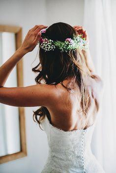 Fine art Wedding, Bohemia, Hochzeit, Blumenkranz, Flowers, Fotografin Daniela Porwol, Die Kathe