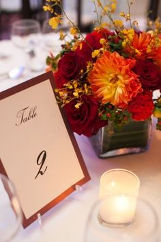 Fall Wedding Decor and Table Numbers