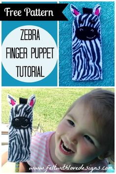 Zebra Finger Puppet Free Pattern and Tutorial  {Felt With Love Designs}