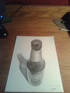 Drawing Tips drawing Beer bottle - Unique Drawings, Art Drawings Beautiful, Amazing Drawings, Cool Drawings, Amazing Art, Awesome, 3d Pencil Drawings, 3d Art Drawing, Drawing Tips