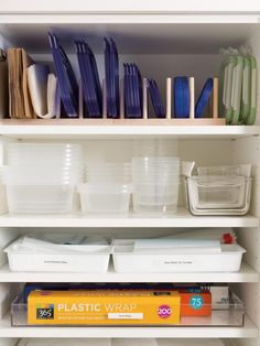 With various sized bins and a range of lids, it doesn't take much for your collection of leftover holders to get out of hand. Lufkin and Goodsell say to group bottoms, then stack lids vertically with the help of a plate rack.