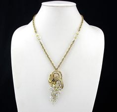 Necklace Crystal Beaded Pendant Vintage