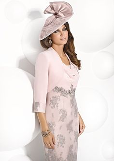Cabotine knee length dress and jacket.  Product code - 4993198  Colour - Rosa Gris