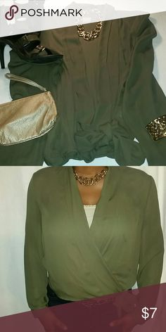 Olive green wrap blouse Olive green wrap blouse. Worn once New York & Company Tops Blouses