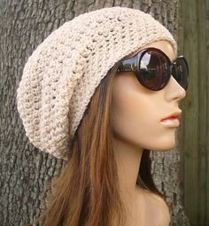 Crochet Hat Womens Hat Slouchy Beanie - Weekender Slouchy Hat in Cream Crochet Hat - Cream Hat Gream Beanie Womens Accessories Winter Hat Cream Hats, Knit Or Crochet, Hand Crochet, Crochet Hats, Crochet Clothes, Crochet Ideas, Winter Hats For Women, Slouchy Hat, Beanies
