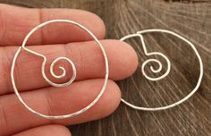 Spiral in Circle Sterling Silver Earrings