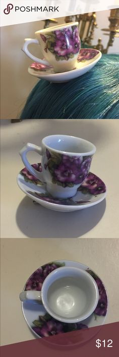 Flower teacup clip Handmade , one of a kind teacup with purple flowers hair clip super cute! Great for romantic outfits or Lolita, bundle to save on shipping (: handmade Accessories Hair Accessories