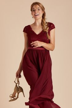 80e96ba58e1d Birdy Grey Bridesmaid Dress Under  100 - Esther Dress in Pinot Noir - Pretty  Lace Bodice