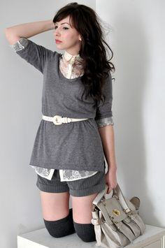 I have the stuff to make this outfit (only with color). Maybe in the fall. It's too hot for those socks now.