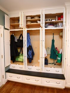Laundry small laundry room Design Ideas, Pictures, Remodel and Decor Mudroom Laundry Room, Laundry Room Design, Closet Mudroom, Hall Closet, Laundry Storage, Room Closet, Closet Space, Storage Spaces, Storage Shelves