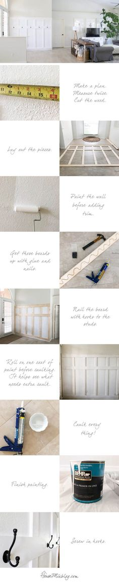 Board and batten wall DIY - moulding panels wainscotting board and batten moulding wall entryway mudroom diy tutorial how to renovation Wood Paneling