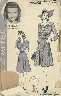 An original ca. 1940's Hollywood Pattern 790.  One-piece Dress.  Dress with separate dickey.  Mid-sectin joins the two-piece bias skirt to the blouse.  Gathers below shoulder yoke and soft pleats at the mid-section release bust fullness.  Three-quarters length sleeves and short sleeves.
