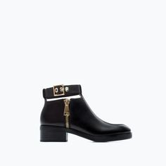 Image 1 of LEATHER BOOTIE WITH ANKLE STRAP from Zara