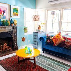 Velours blauwe sofa