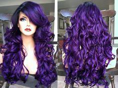 Purple Wig Blue To Purple Hair Grey Balayage Hair – porjack Purple Wig, Purple Lace, Purple Ombre, Dark Purple, Black Dark, Pastel Purple, Balayage Hair, Ombre Hair, Pelo Multicolor