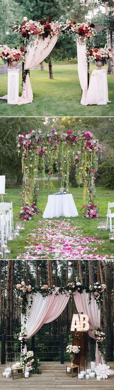 stunning outdoor floral and fabric wedding altar and arch ideas #outdoorweddings #weddingceremony