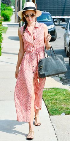 Miranda Kerr has the best style! We adore this pink maxi dress.