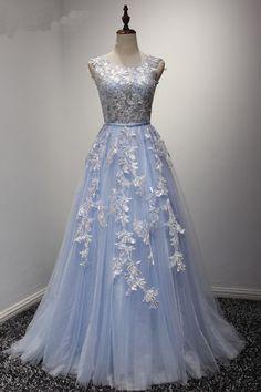 Elegant baby blue tulle O-neck sleeveless long lace appliques senior prom dress, bridesmaid dress