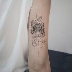 Tiger Tattoo Small, Tiger Face Tattoo, Big Cat Tattoo, Tiger Tattoo Design, Small Tattoos, Tattoo Designs, White Tiger Tattoo, Face Tattoos For Women, Sleeve Tattoos For Women
