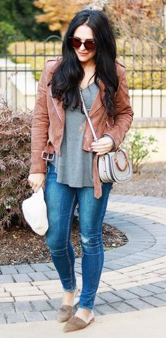 #fall #outfits brown jacket