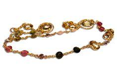 18 KARAT GOLD MULTI-COLOURED TOURMALINE NECKLACE. Tourmaline Necklace, Beaded Bracelets, Necklaces, Necklace Designs, Gold, Jewelry, Jewlery, Jewerly, Pearl Bracelets