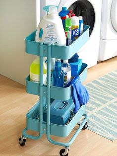 Use the Råskog for cleaning supplies that you can wheel from room to room. | 37 Clever Ways To Organize Your Entire Life With Ikea