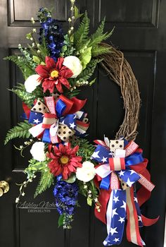 This Patriotic Floral Wreath will be a great addition to your home for all the patriotic holidays! Size: This wreath was created using a Natural Oval Grapevine Fourth Of July Decor, 4th Of July Decorations, 4th Of July Wreath, July 4th, Church Decorations, Holiday Decorations, Holiday Ideas, Wreath Crafts, Diy Wreath
