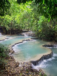 Forest lagoon / river at Khoung Si Falls. Near Luang Prabang, Laos. March 30th, 2015.