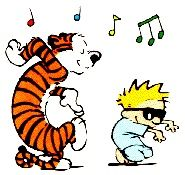 Calvin and Hobbs get into the music.
