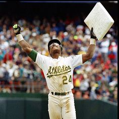 May 1991 - Oakland Athletics outfielder Rickey Henderson steals his base to break Lou Brock& record for stolen bases in a career. Henderson stole a total of bases in his major league career, almost 500 more than the next closest player. Cheap Baseball Caps, Sports Baseball, Baseball Games, Baseball Players, Baseball Field, Baseball Records, Basketball Rules, Baseball Uniforms, Baseball Stuff