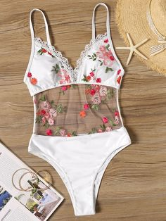 Romwe Sport Bikinis Set Mesh Floral Embroidered Lace Trim Monokini Women Summer Sexy Backless Beach Vacation One Piece Swimsuit Monokini, Jolie Lingerie, Sexy Lingerie, Cute Swimsuits, Women Swimsuits, Bikinis Online, Sport Bikini Set, Pullover Shirt, Luxury Lingerie