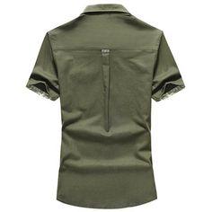 f14ffac5b82 Outdoor Casual Linen Short Sleeve Chest Pockets Cargo Dress Shirts for Men  Best Dress Shirts