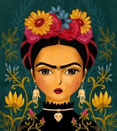 Flower Diamond Painting Kits have a huge selection of flowers like Roses, Carnations, Sunflowers, Hydrangea and many, many more. Kahlo Paintings, Easy Paintings, Frida Art, Arte Popular, 5d Diamond Painting, Drawing Skills, Mexican Folk Art, Portrait, Art Forms