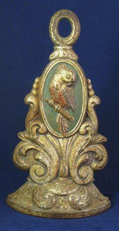 Vintage Cockatoo bird cast iron painted doorstop