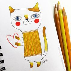 Kitty doodle | Flora Chang, www.HappyDoodleLand.com
