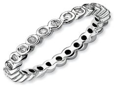 White Gold over Silver Diamond Eternity Stack Band From Gemologica (Online at Gemologica.com)