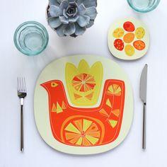 Placemat and Coaster table setting - Retro Citrus Bird design - Orange and Lemon