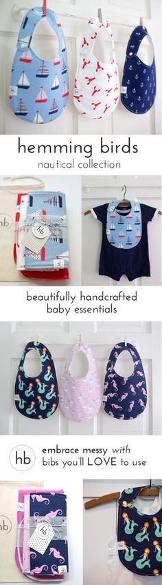 """Nautical Collection - Colorful, fun and machine washable! Made to be your """"go-to"""" bib and adorable for outings. Gender neutral plus designs for girls and boys. Thoughtfully designed with a side snap and no velcro. Makes a perfect baby shower gift (or put it on your babyli.st registery!)"""