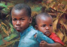 brothers   pastel portraits by Alain J. Picard