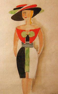 Fashion illustration by Italian futurist painter Tullio Crali (1910-2000) - 1932