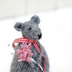 Woolly Rat Decoration, Mouse Decoration, Grey Rat Ornament, Grey Mouse Ornament, Quirky Rat Soft sculpture, Knitted Animal Decoration
