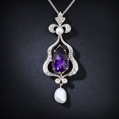 Amethyst, Diamond, and Pearl Pendant http://www.langantiques.com/products/item/90-1-3852