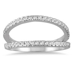 1/3 Carat Diamond Double Row Split Oyster Ring in 10K White Gold