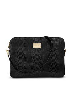 MICHAEL Michael Kors  Shoulder-Strap Macbook Pro Sleeve, Black Python-Embossed Leather  $149.95