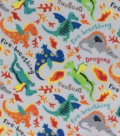"Novelty Cotton Fabric 44"" - Dragons Gray"